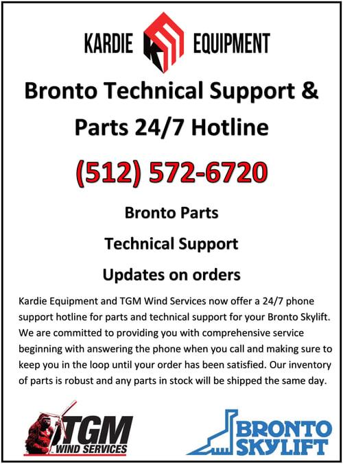 Bronto Parts & Service Hotline Post No Map-2